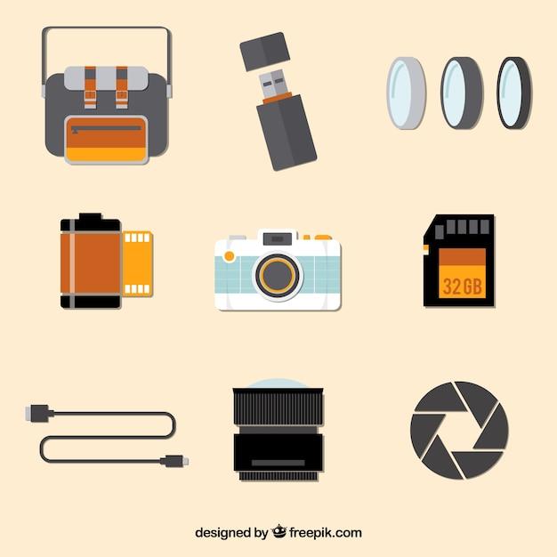 Camera equipment flat collection Premium Vector