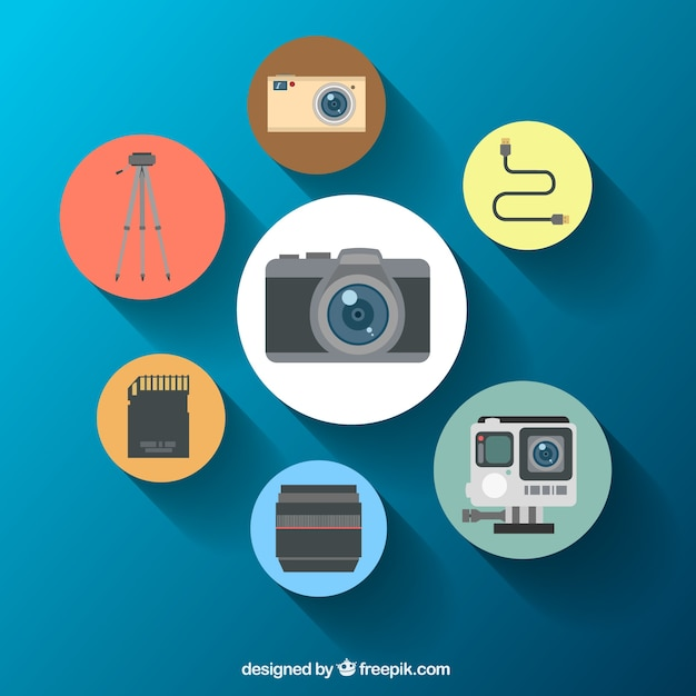 Camera equipment rounded icons Free Vector