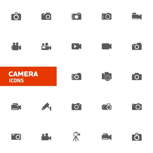 Camera icon collection Free Vector