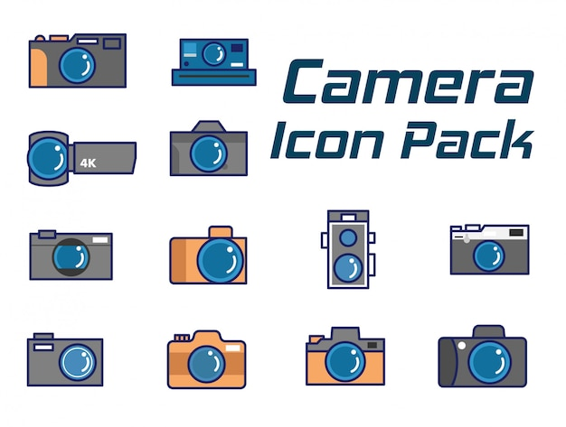 Camera icon pack-set,flat line camera icons set as modern  style Premium Vector