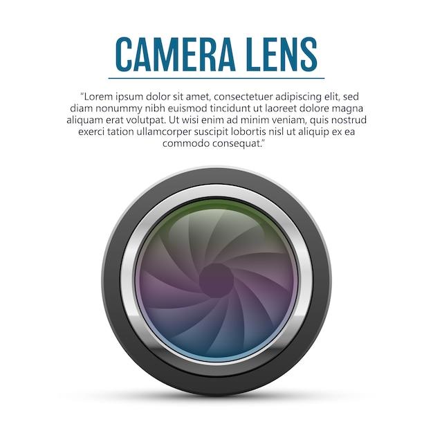 白い背景の上のカメラのレンズの図 Premiumベクター