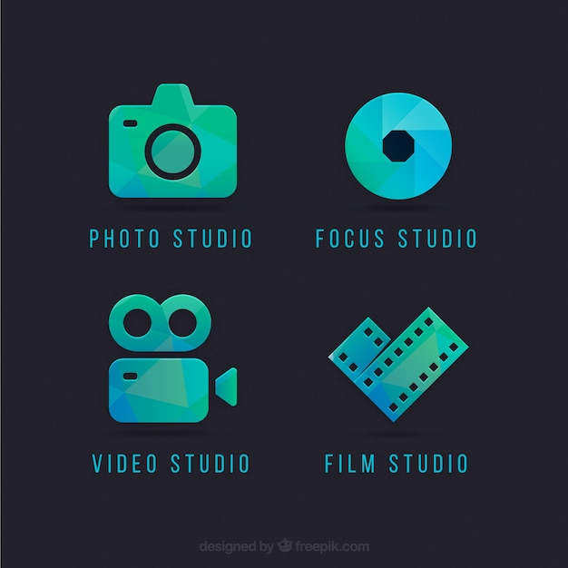 Camera logos in green and blue color Free Vector