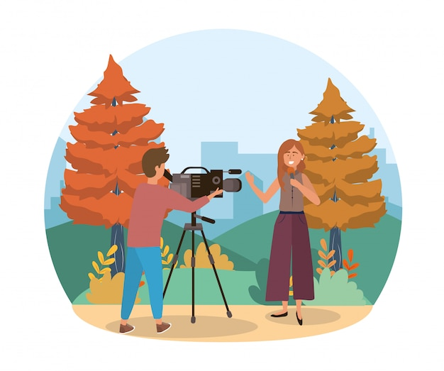 Camera man with camcorder and woman reporter with microphone Premium Vector