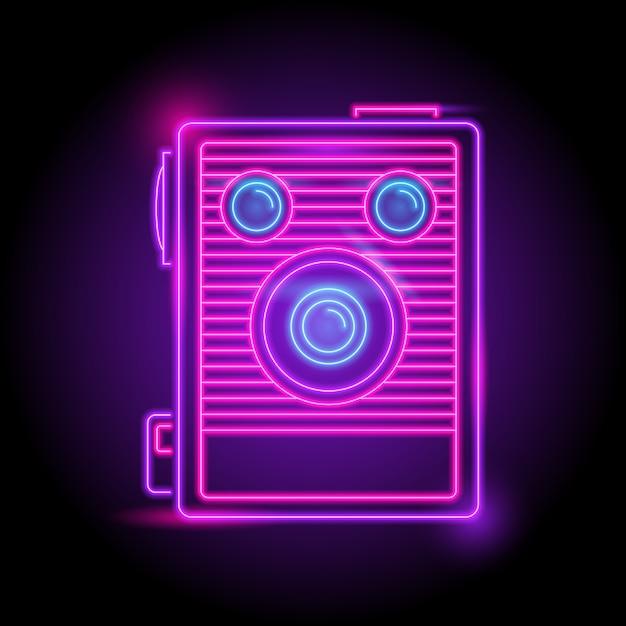 Camera neon logo Premium Vector