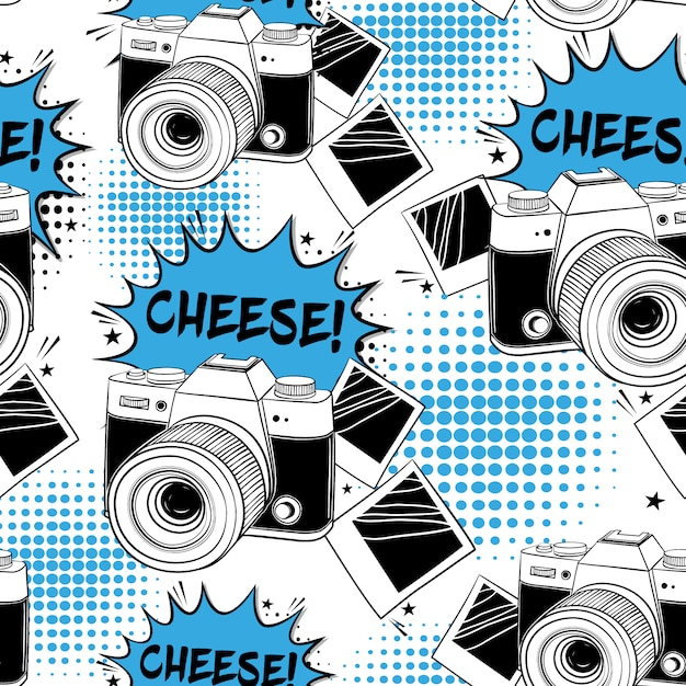 Camera Pattern Background Free Vector