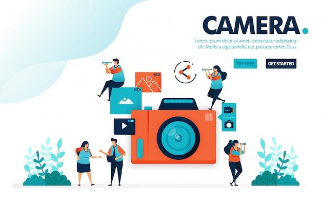 Камера, люди снимают с камеры, видео и фото обмена Premium векторы