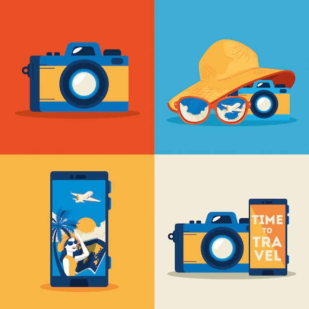 Camera photographic with set icons of summer travel Free Vector