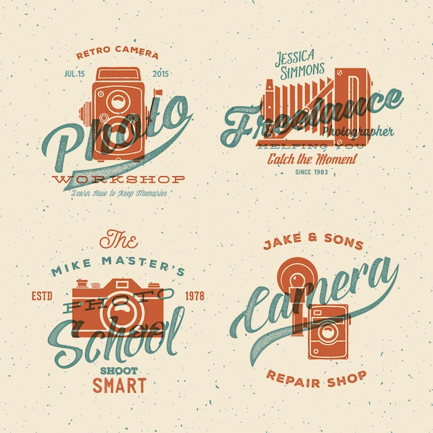 Camera photography logos with vintage typography and retro print effect. Premium Vector