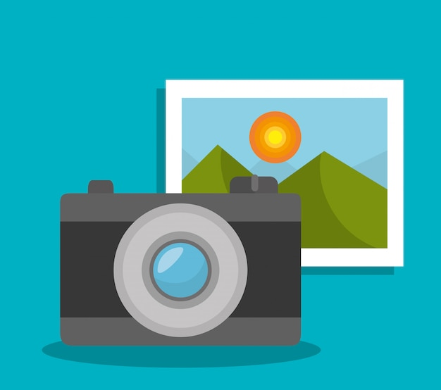 Camera and picture Free Vector