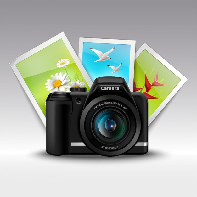 Camera and pictures Free Vector
