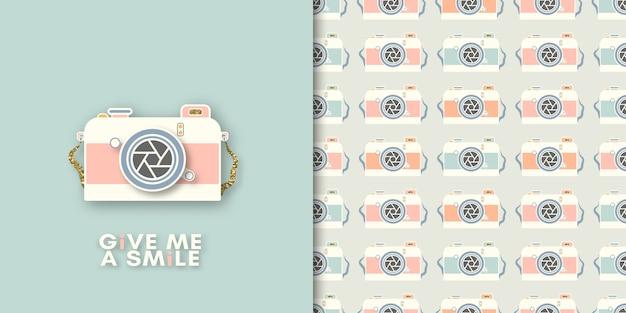Camera print and seamless pattern Premium Vector
