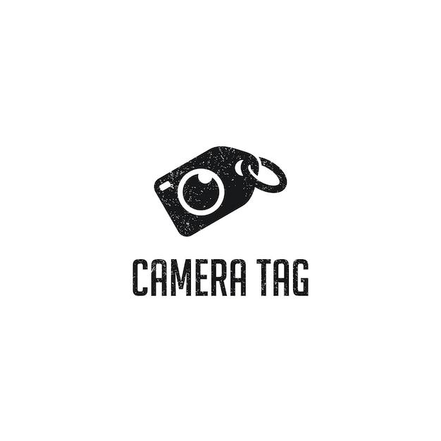 Camera tag logo template design Premium Vector