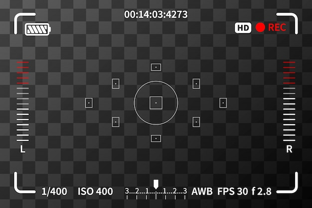 Camera viewfinder with iso and battery marks on transparent background Premium Vector
