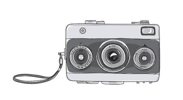 Camera Vintage Vector Free : Camera vintage hand drawn vector illustration vector premium download