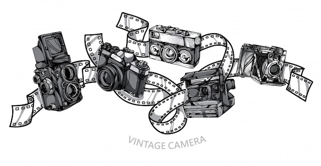 Camera Vintage Set Hand Drawing Premium Vector