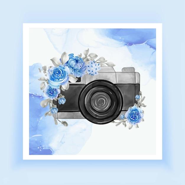 花の青いカメラの水彩画 Premiumベクター