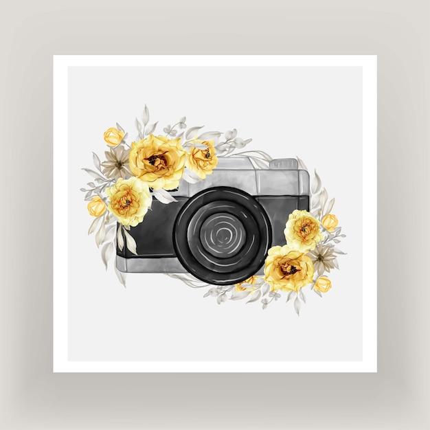 금 노란색 꽃 화 환과 카메라 수채화 무료 벡터