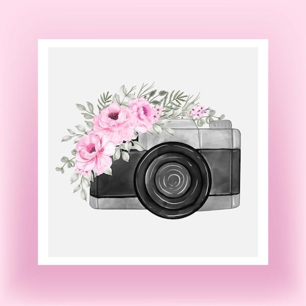 장미 꽃 분홍색 모란과 카메라 수채화 프리미엄 벡터