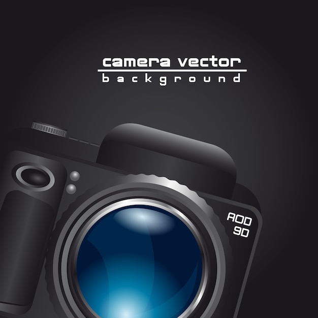 Camera with blue lens with space for copy Premium Vector