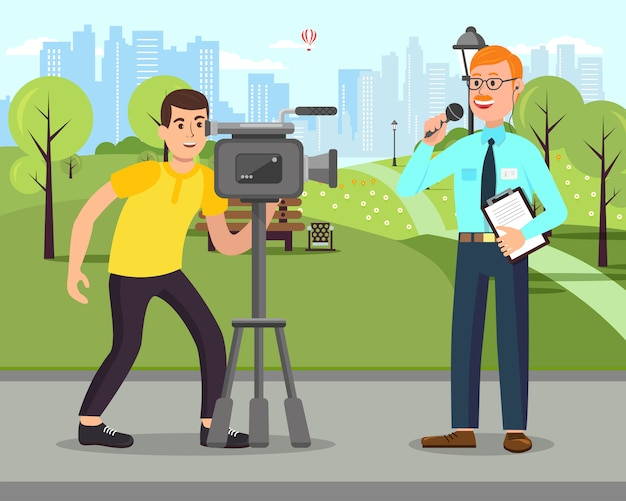Cameraman with camera. journalist with microphone. Premium Vector