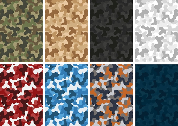 Camouflage army pattern different colors set Premium Vector