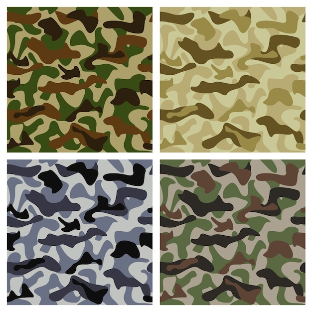 Camouflage background of different colors with classic pattern Free Vector