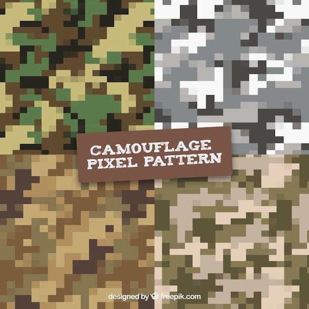 Camouflage digital pixilated vector patterns Premium Vector
