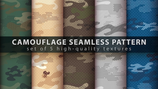Camouflage military seamless pattern - idea for print. Premium Vector