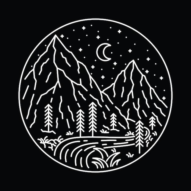 Лагерь hike nature wild line графический рисунок art дизайн футболки Premium векторы