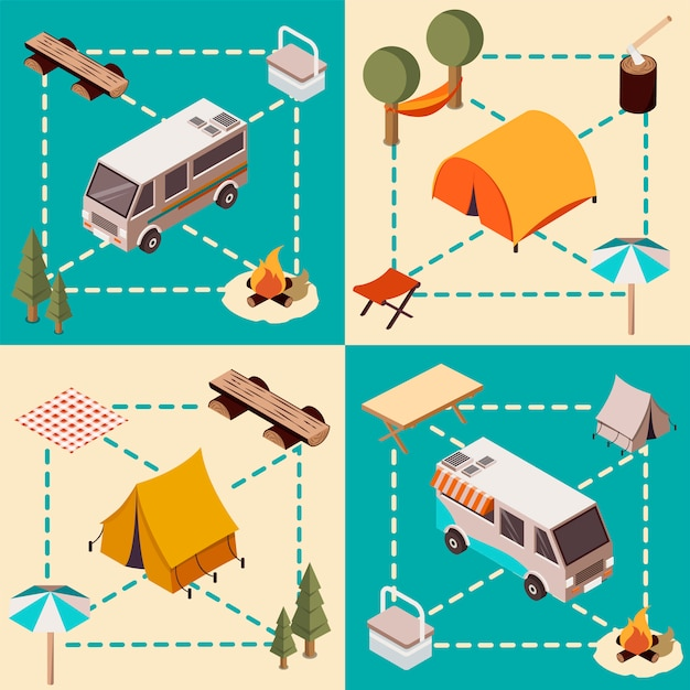 Camp isometric compositions Free Vector