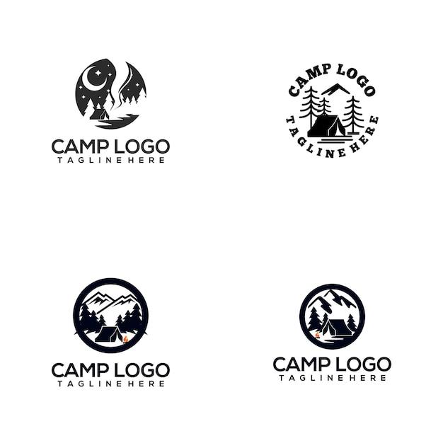 Camp logo collection Premium Vector