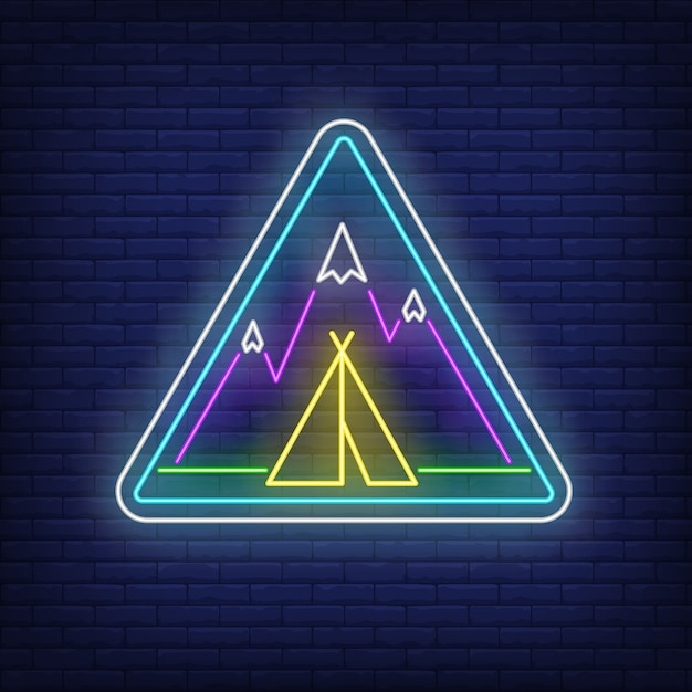 Camp in mountains neon sign Free Vector