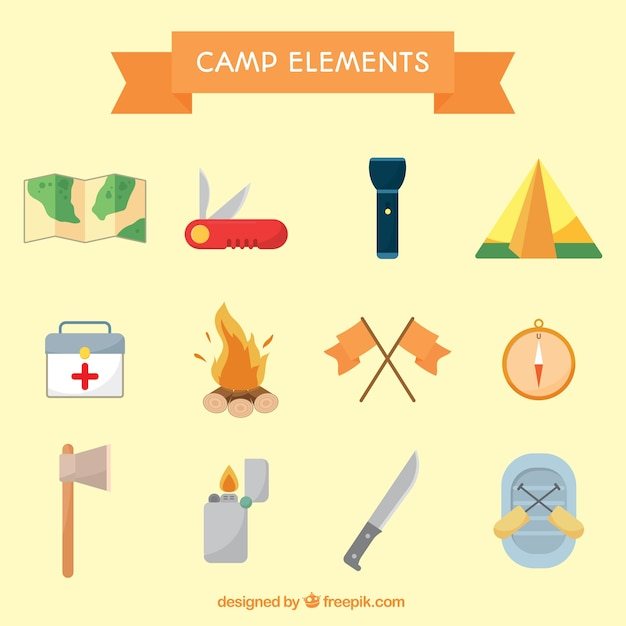 Camp objetcs collection Free Vector