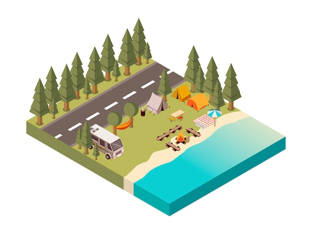 Camp between road and lake illustration Free Vector