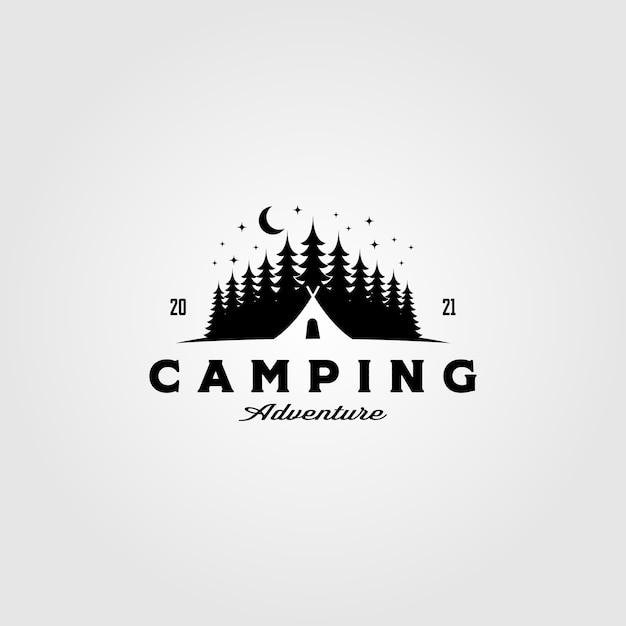 松の木のビンテージテンプレートのキャンプテントのロゴ Premiumベクター