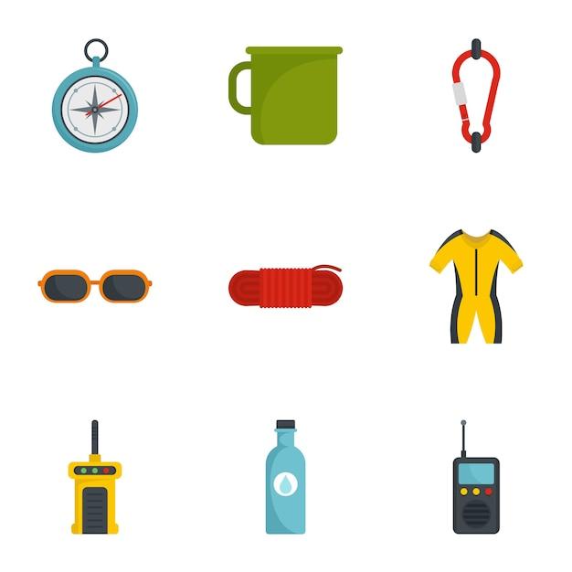 Camp travel icon set, flat style Premium Vector