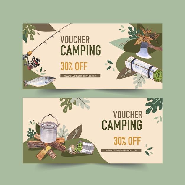 Camp、棒、鍋、缶詰のイラスト入りのキャンプ券。 無料ベクター