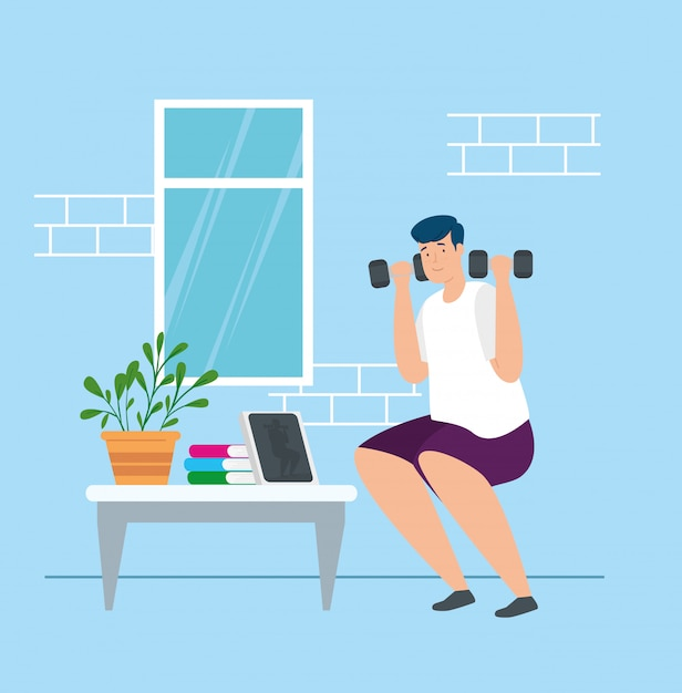 Campaign stay at home with man lifting weights vector illustration design Free Vector