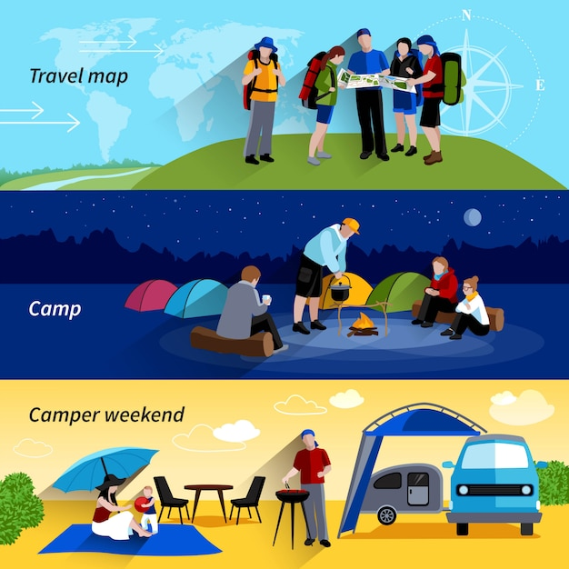 Camper people banners set with camp family\ picnic and travel map symbols