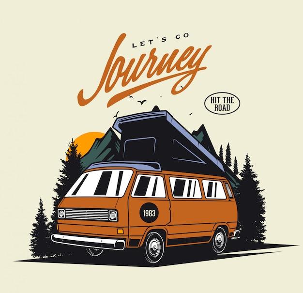 Camper van journey Premium Vector