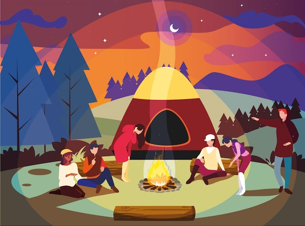 Campers in camping zone with tent and campfire night scene Premium Vector