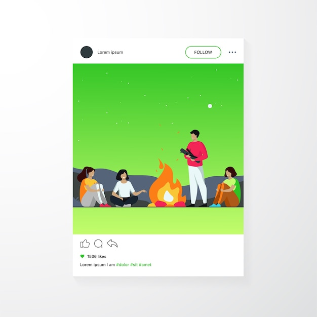 Campfire, camping, story telling concept. cheerful people sitting at fire, telling scary stories, having fun Free Vector