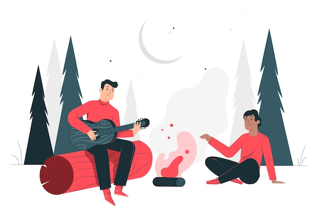 Campfire concept illustration Free Vector