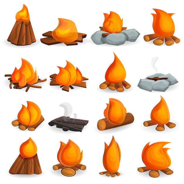 Campfire icon set, cartoon style Premium Vector