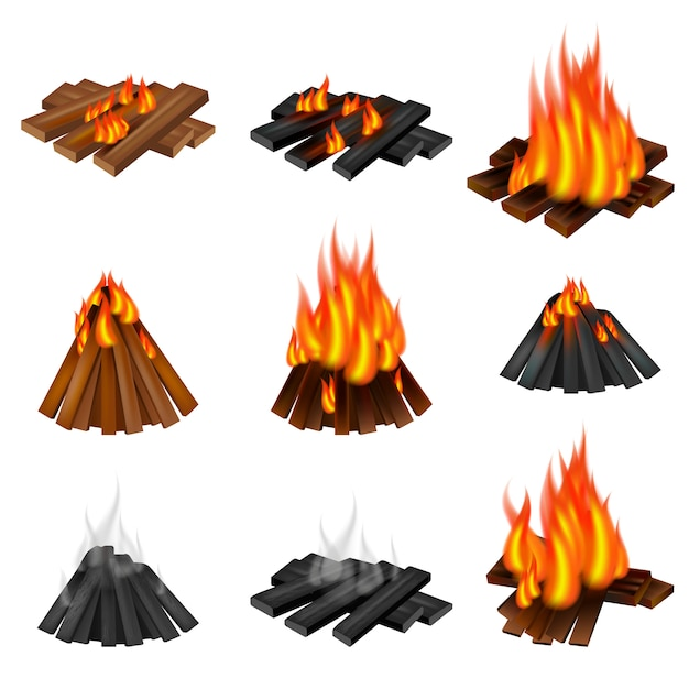 Campfire icon set Premium Vector