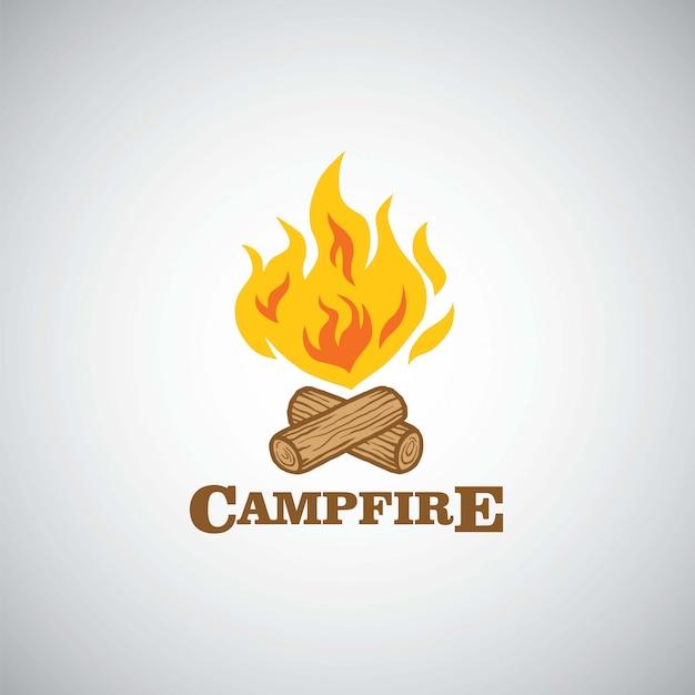 Campfire mountain adventure logo vector illustration Premium Vector