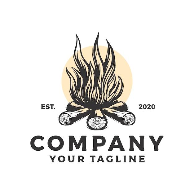 Campfire vintage logo Premium Vector