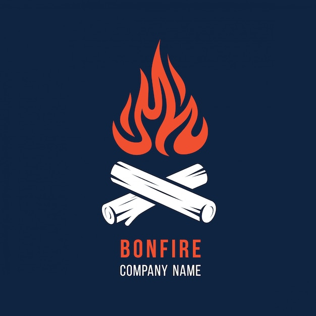 Campfire with firewood Premium Vector