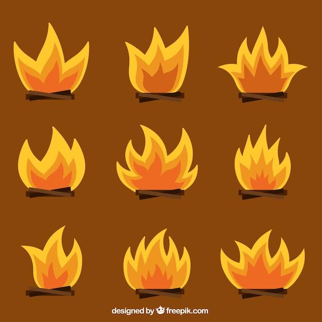 Campfires set Free Vector