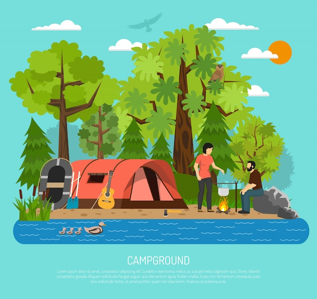 Campground recreation family summer tent poster Free Vector